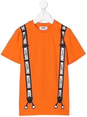 Moschino Kids logo suspender T-shirt