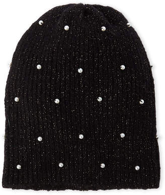 Collection 18 Faux Pearl Knit Beanie