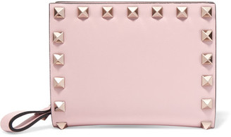 Valentino - The Rockstud Leather Wallet - Pastel pink $625 thestylecure.com