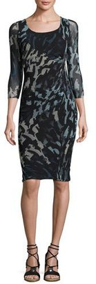 Fuzzi 3/4-Sleeve Abstract-Print Ruched Sheath Dress, Black/Blue $445 thestylecure.com