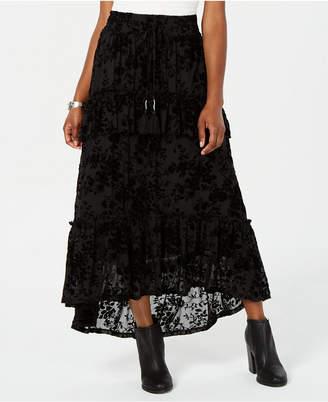 American Rag Juniors' Ruffled Velvet Burnout Maxi Skirt