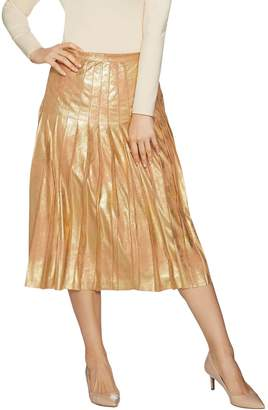 Du Jour Metallic Faux Suede Pleated Midi Skirt