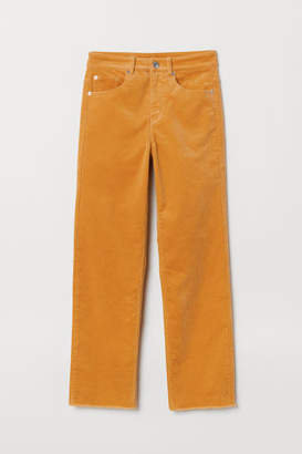 H&M Ankle-length Corduroy Pants - Yellow