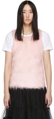 Comme des Garcons White Faux-Fur Panel T-Shirt