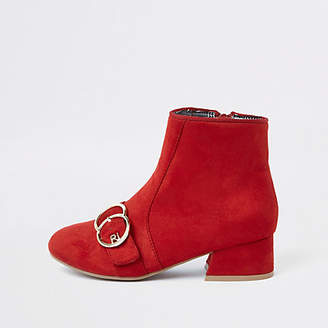 River Island Girls red double circle RI heeled boot