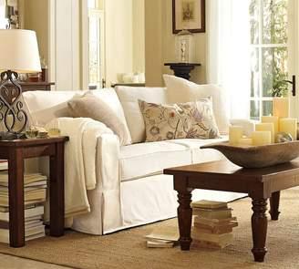 Pottery Barn PB Comfort Square Arm Slipcovered Sleeper Sofa With Memory Foam Mattress