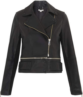 Whistles Buckle Leather Biker Jacket