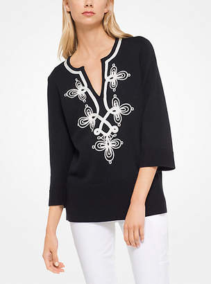 Michael Kors Soutache-Embroidered Cashmere Tunic