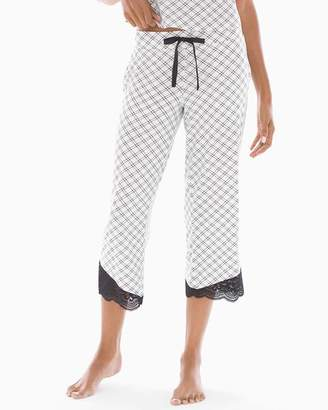 Cool Nights Lace Trim Crop Pajama Pants Weekend Plaid Ivory