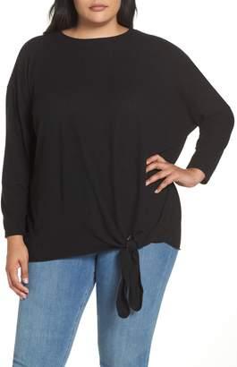 Caslon Fuzzy Tie Front Sweatshirt