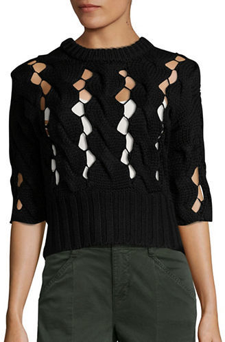 DKNYDkny Chunky Merino Wool Open Cable Sweater