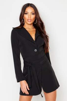 boohoo Wide Belt Split Sleeve Blazer Dress