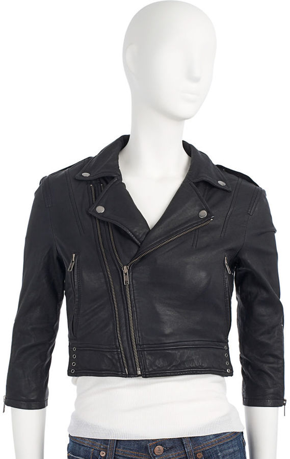 Joie Cropped Motorcycle Jacket - Black
