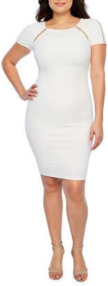 PREMIER AMOUR Premier Amour Short Sleeve Beaded Sheath Dress