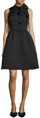Kate Spade Kate Spade New York Embellished Bow-Neck Fit & Flare Cocktail Dress, Black