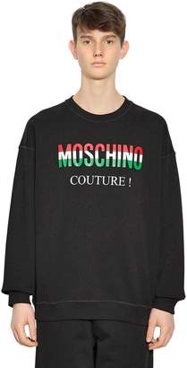 Moschino Italy Logo Printed Cotton Sweatshirt
