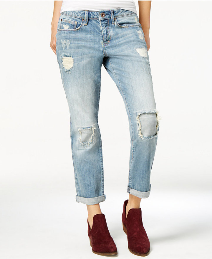 American RagAmerican Rag Ripped Patched Parkridge Wash Girlfriend Jeans, Only at Macy's