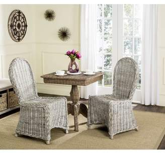 Safavieh Idola Wicker Dining Chair, White Washed, Set of 2