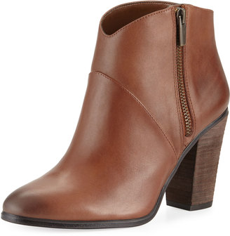 Vince Camuto Felise Leather Zip-Up Bootie, Dark Brown $125 thestylecure.com