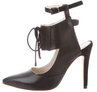 Alepel Chaine Lace-Up Leather Pumps