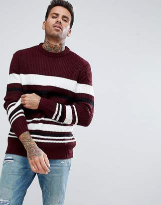 Bershka Textured Striped Sweater in Burgundy