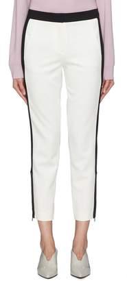 Tibi 'Anson' zip cuff stripe outseam skinny tuxedo pants