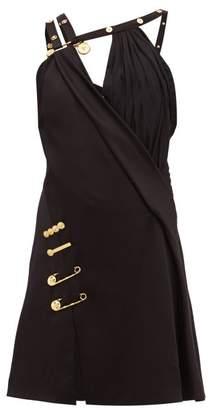 Versace Baroque Safety Pin Draped Satin Mini Dress - Womens - Black Multi