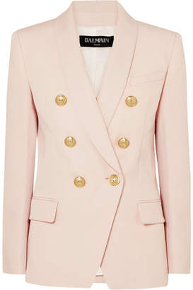 Balmain Double-breasted Grain De Poudre Wool Blazer - Pink