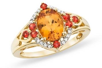 2 1/6 Carat Cognac Hessonite, Orange Sapphire & Diamond Gold Over Sterling Silver Ring
