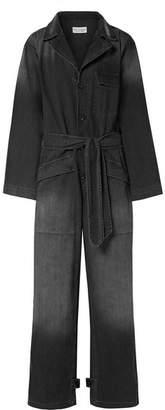 Nili Lotan Aria Belted Cotton-chambray Jumpsuit