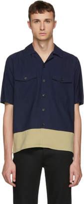 Ami Alexandre Mattiussi Navy and Beige Button-Up Shirt