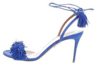 Aquazzura Blue Fringe Sandals w/ Tags