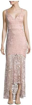 Nicole Miller New York Women's Lace High-Low Mermaid Gown