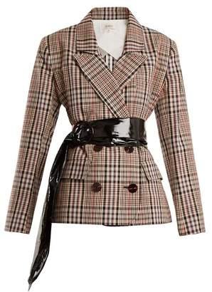 Isa Arfen Double Breasted Checked Cotton Blazer - Womens - Beige Multi
