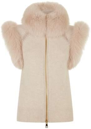 William Sharp Fox Fur Trim Cashmere Gilet