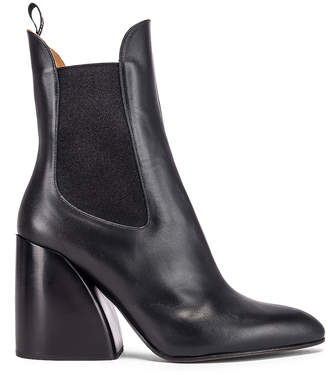 Chloé Leather Ankle Booties in Black   FWRD