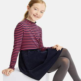 Uniqlo Girl's Ribbed Frill Striped Long-sleeve T-Shirt