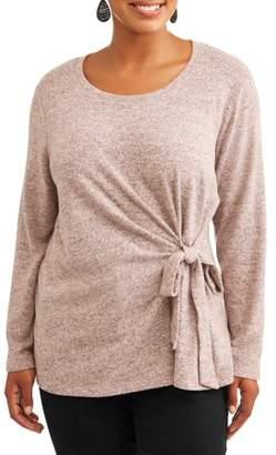 Tru Self Women's Plus Size Side Knot Long Sleeve Blouse