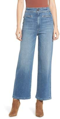 Mother The Welt Front Greaser High Waist Crop Wide Leg Jeans