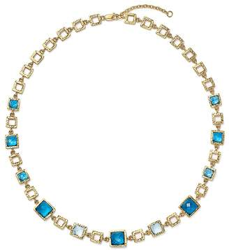 "Bloomingdale's London Blue and Swiss Blue Topaz Geometric Necklace in 14K Yellow Gold, 16.5"" - 100% Exclusive"