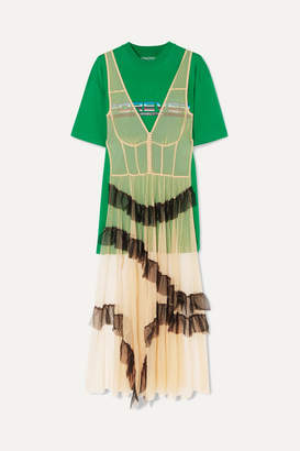 Pushbutton - Layered Point D'esprit Tulle And Printed Cotton-blend Jersey T-shirt - Green