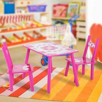 TMISHION Childrens Wooden Table and Chair Set Kids Childs Studying Painting Childs Studying Table and Chair Set Home School