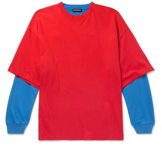 Balenciaga Oversized Layered Two-Tone Cotton-Jersey T-Shirt - Men - Red