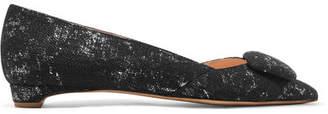 Rupert Sanderson Aga Metallic Jacquard Point-toe Flats - Black