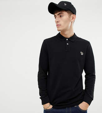 Paul Smith regular fit zebra logo long sleeve polo in black
