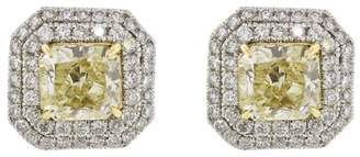 Platinum and 18k Yellow Gold Fancy Diamond Earrings