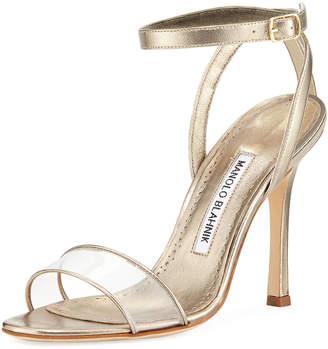 Manolo Blahnik Dandolo Metallic Ankle-Wrap Sandal