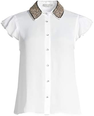 Alice + Olivia Willa Embellished Collar Blouse