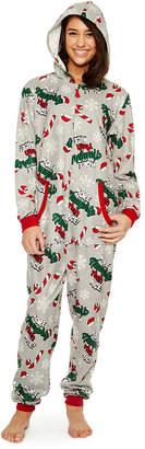 Asstd National Brand Fleece Onesies One Piece Pajama More Naughty Than Nice Print-Womens