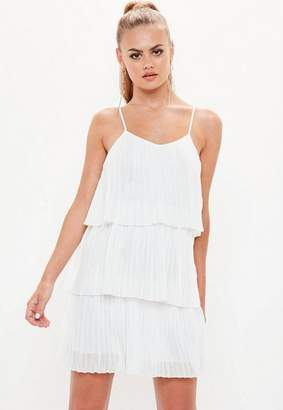 Missguided White Pleated Layered Swing Dress
